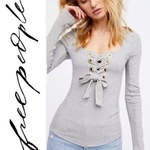 Free People Looking Back Lace Up Top-Gray